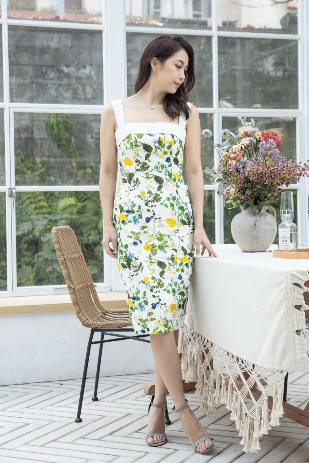 Floral Printed Sheath Dress with Straps-Yellow