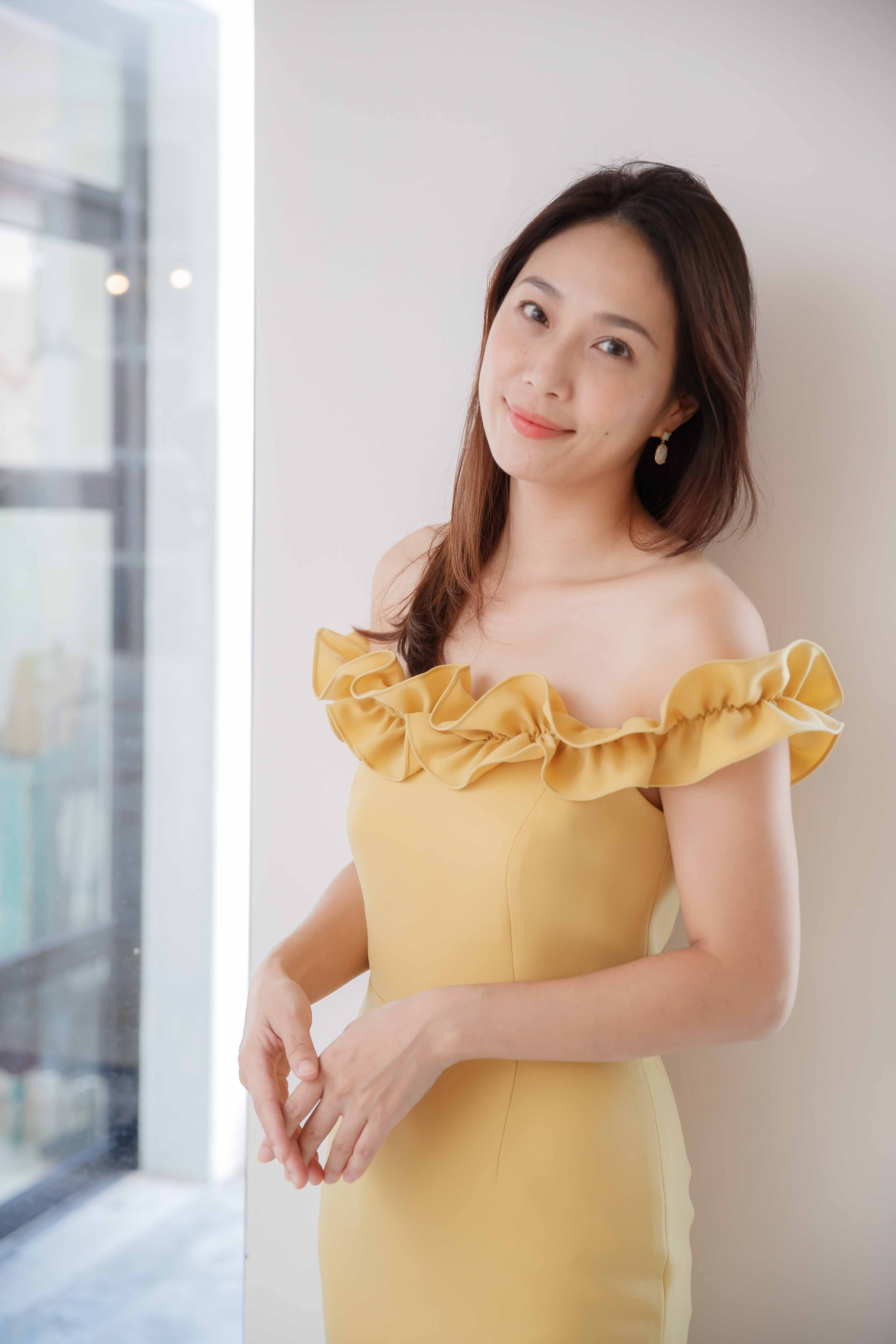 Mustard Off-the-shoulder Mermaid Hem Dress