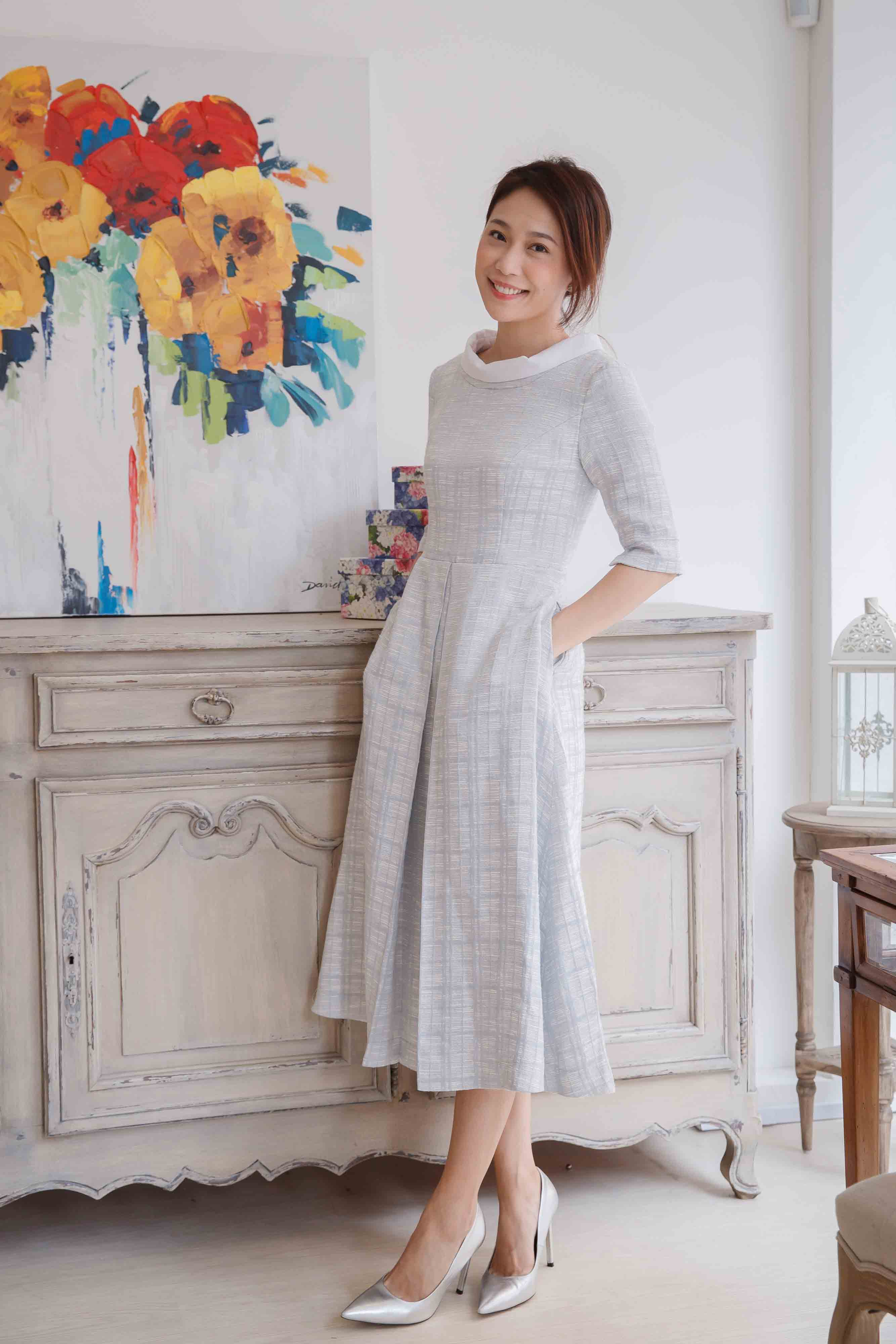 Cendrillon Round-neck 3/4 Length Sleeve Dress – Water Blue