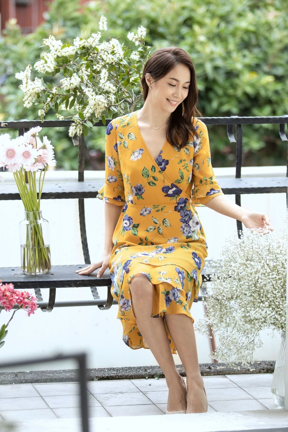 Multi-Layer Yellow Dress with Purple Floral Print