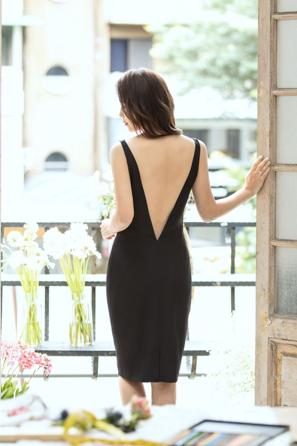 Gorgeous Black V-Back Gown with Bra Pads (sold out)