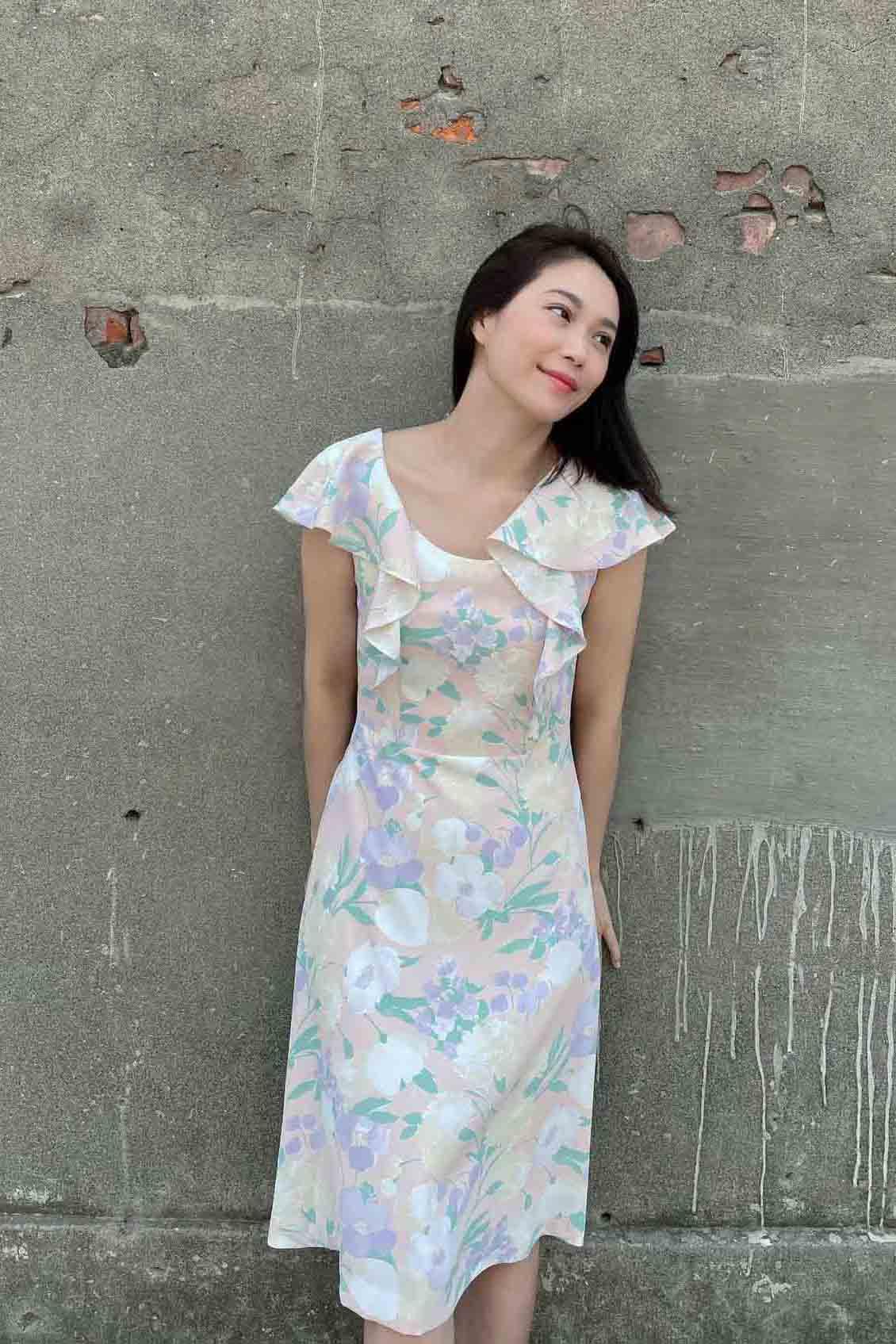 Pink-printing Ruffle-sleeves Midi Skirt