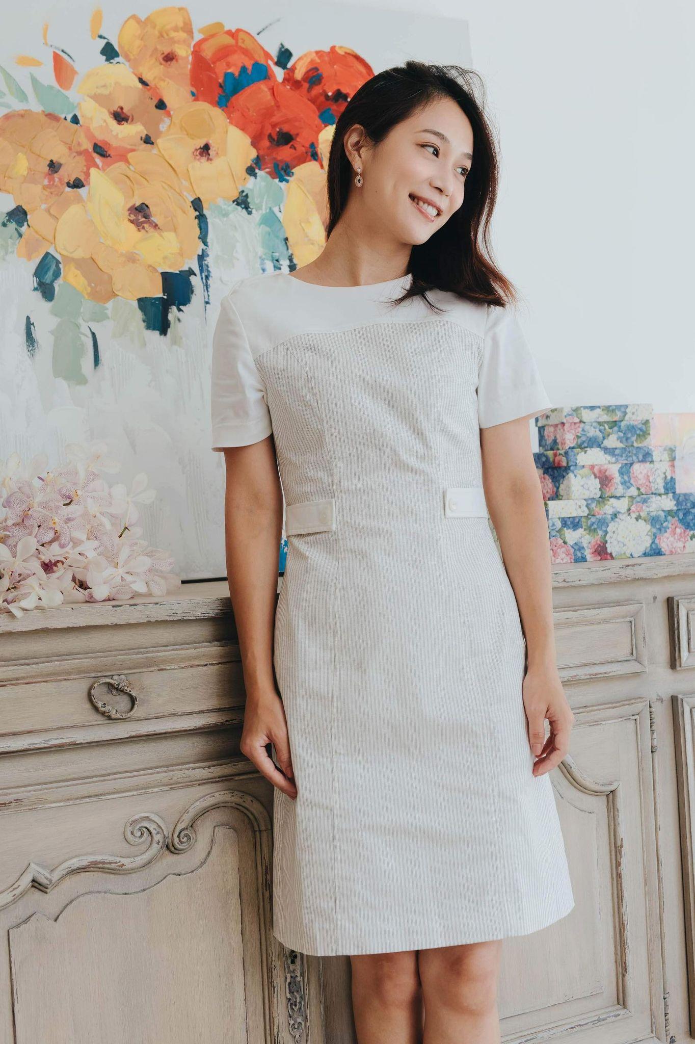 Gray-white Striped Navy-style Dress