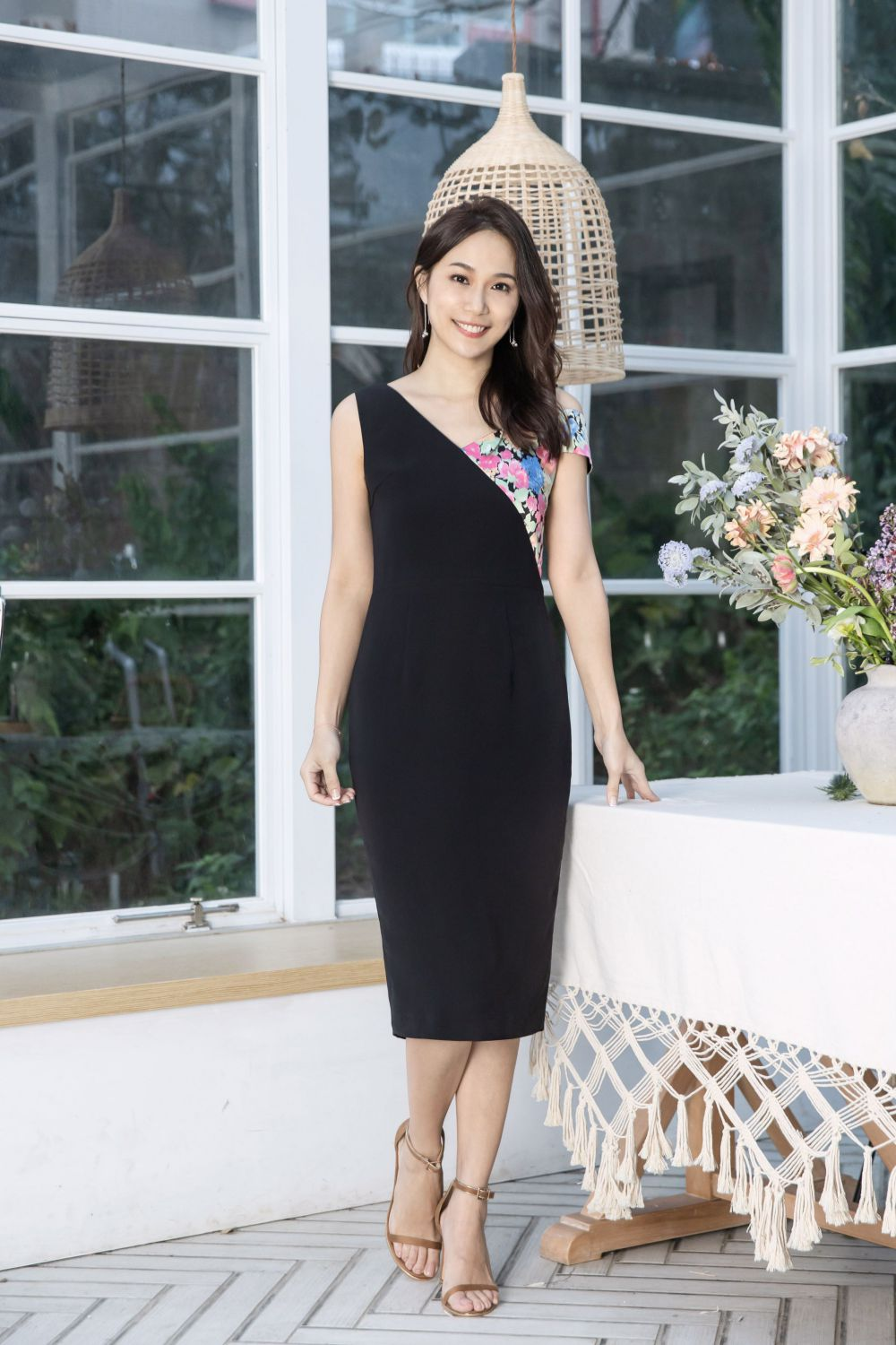 Black Sheath Dress with Floral Color-block Strap